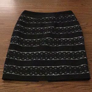 WHBM Black Lace Pencil Skirt